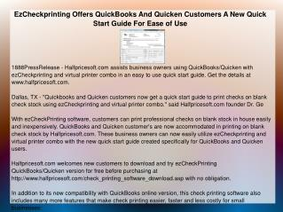 EzCheckprinting Offers QuickBooks And Quicken Customers