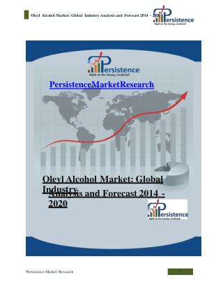 Oleyl Alcohol Market: Global Industry Analysis and Forecast