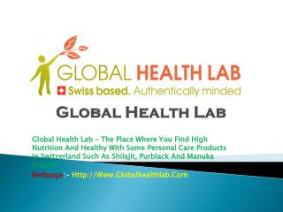 Global Health Lab - Healthy Products