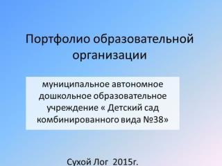 Портфолио образовательной организации МАДОУ «Детский сад ком