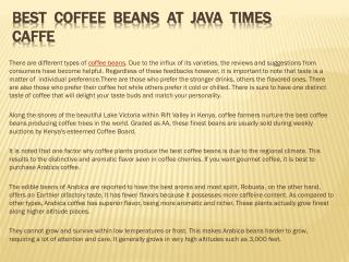 Best Coffee Beans at Java Times Caffe
