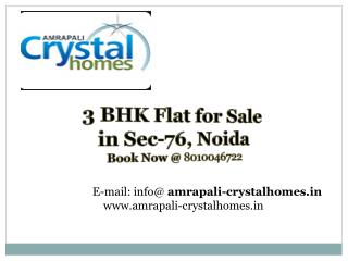 3 BHK Apartments for sale in Noida @  91-8010046722