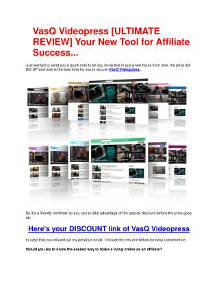 Demo Review of VasQ Videopress and big bonus packs