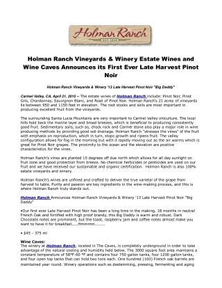 Holman Ranch Vineyards & Winery Estate Wines and Wine Caves