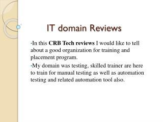crb tech IT training reviews ppt