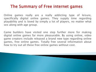 The Summary of Free Internet games