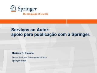 Servi os ao Autor:  apoio para publica  o com a Springer.