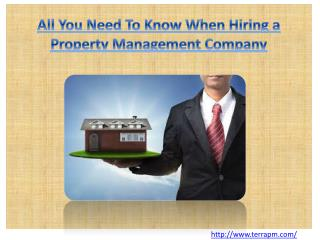 All You Need To Know When Hiring a Property Management