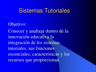 Sistemas Tutoriales