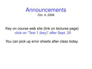 Announcements Oct. 4, 2006