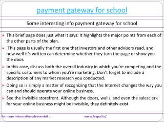Payment gateway for school services in India.