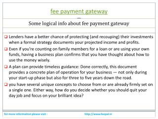 Mode of organizing transactions of fee payment gateway.