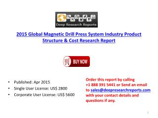 2015 Global Magnetic Drill Press System Industry Geographica