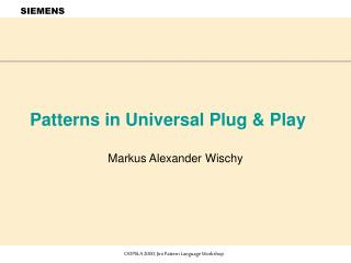 Patterns in Universal Plug  Play