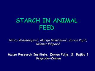 STARCH IN ANIMAL FEED