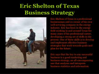 Eric Shelton of Texas  Business Strategy