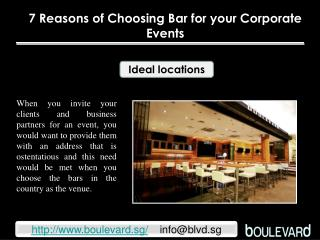 7 Reasons of Choosing Bar for your Corporate Events