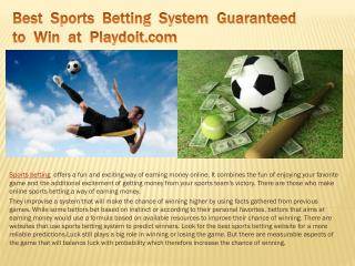 Best Sports Betting System Guaranteed to Win at Playdoit.com