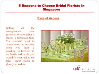 5 Reasons to Choose Bridal Florists in Singapore