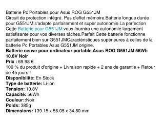 Batterie pour Asus ROG G551JM