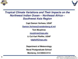 Tropical Climate Variations and Their Impacts on the Northwest Indian Ocean   Northeast Africa   Southwest Asia Region