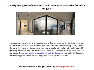 Speedy Emergence of Residential and Commercial Properties for Sale in Gurgaon