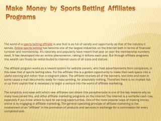 Make Money by Sports Betting Affiliates Programs