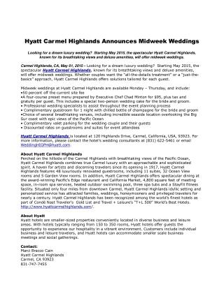 Hyatt Carmel Highlands Announces Midweek Weddings