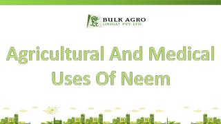 Agricultural And Medical Uses Of Neem