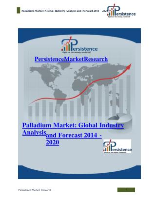 Palladium Market: Global Industry Analysis and Forecast 2014