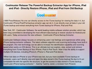 Coolmuster Release The Powerful Backup Extractor App