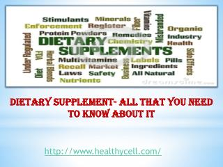 Dietary Supplement- All that You Need to Know about it