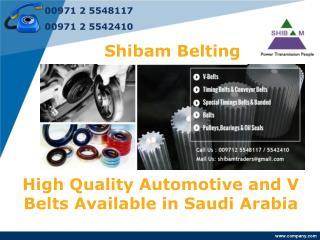 High Quality Automotive and V Belts Available in Saudi Arabi