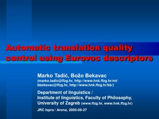 Automatic translation quality control using Eurovoc descriptors