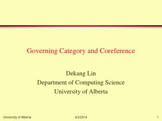 Governing Category and Coreference