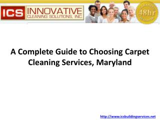 Choosing Carpet Cleaning Services Maryland