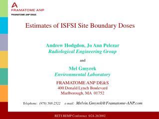 Estimates of ISFSI Site Boundary Doses