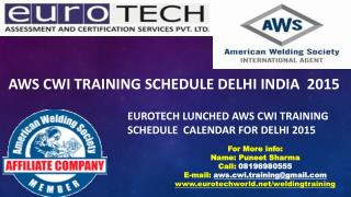 AWS CWI Training Seminar Schedule Delhi 2015
