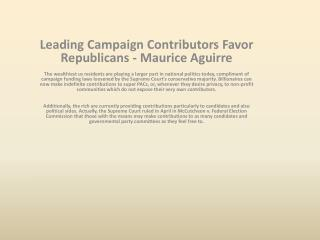 Top Rated Donors Support Republicans - Maurice Aguirre