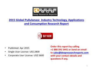 2015-2020 Global Pullulanase Industry by Growth, Application
