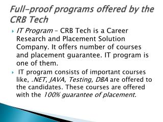 crb tech all offered programs ppt