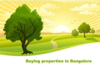 Buying properties in Bangalore