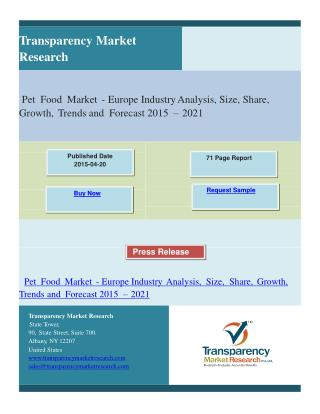 Pet Food Market - Europe Industry Analysis, Size, Share, Gr