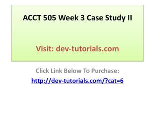 ACCT 505 Week 3 Case Study II