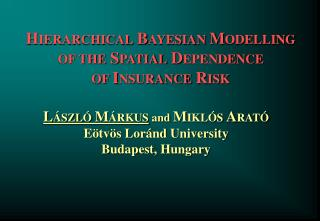 HIERARCHICAL BAYESIAN MODELLING  OF THE SPATIAL DEPENDENCE  OF INSURANCE RISK