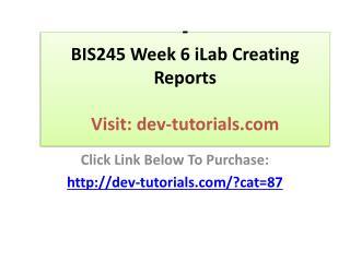 BIS245 Week 6 iLab Creating Reports