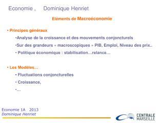 Economie ,     Dominique Henriet