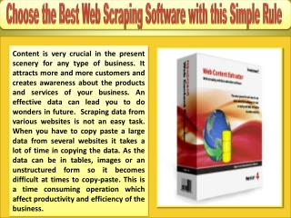 Choose the Best Web Scraping Software with This Simple Rule