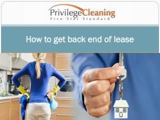 How to get back end of lease