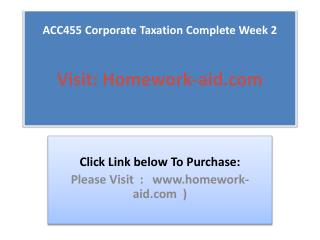 ACC455 Corporate Taxation Complete Week 2